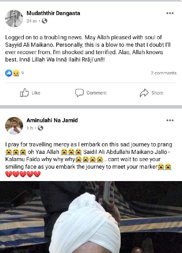 Armed robbers kill Ali Ahmed Maikano, son of popular Sheikh Jallo Maikano of Prang. 57