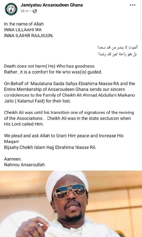 Armed robbers kill Ali Ahmed Maikano, son of popular Sheikh Jallo Maikano of Prang. 58
