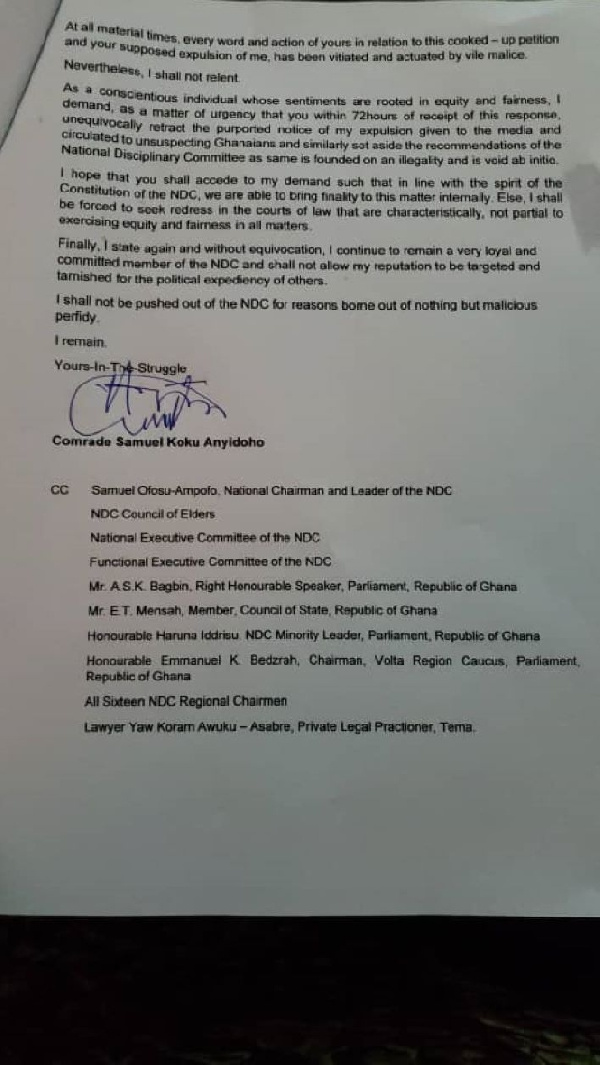 Koku Anyidoho 'threatens' Mosquito: Retract your expulsion letter in 72hrs or I sue. 52