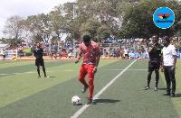 Asamoah Gyan performing the ceremonial kick off