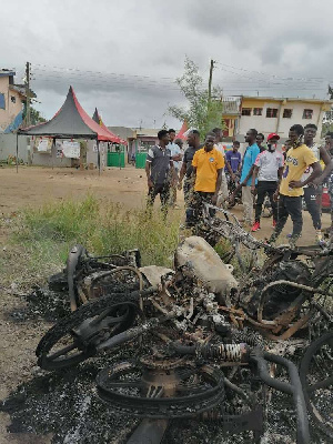 Three motor bikes were burnt in the Kasoa incident