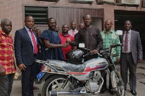 Mr. Vincent Yeboah was presented with the keys to a brand new motorbike