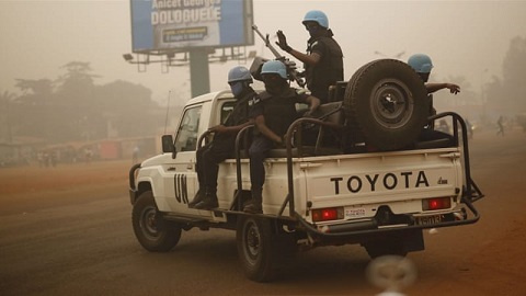 Some police officers on peacekeeping mission