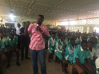 Actor John Dumelo addressing students of Ahafoman Secondary Technical