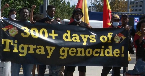 300 protesters gathered in Geneva in front of the United Nations headquarters