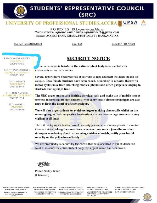 Two female students sexually assaulted at UPSA. 4
