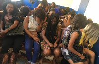 The suspected prostitutes at the Police station