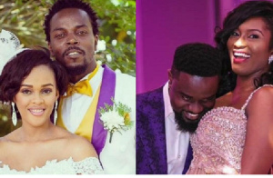 From Left to Right: Kwaw Kesse with his wife Nana Pokuah Kyei Baffour and Sarkodie with Tracy