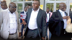 Kwaku Boahen, Samuel Ofosu-Ampofo and Tony Lithur leaving the court after the proceedings