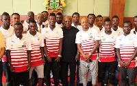 Former President John Dramani Mahama with Black Stars players