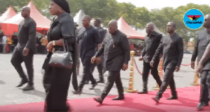 President Akufo-Addo in the company of Mrs.Catherine Afeku and other government officials
