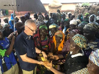 Norwegian ambassador to Ghana interacts with the inmates of Gnani Witches Camp