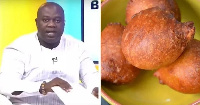 The host, Omanhene Kwabena Asante  and 'bofrot' a traditional African snack similar to a doughnut
