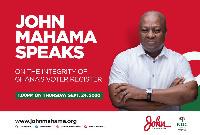 Former President John Dramani Mahama is making an address on the voter register