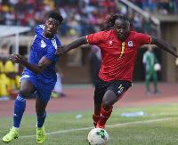 Jorge Semedo of Cape Verde tries to challenge Hassan Mawanda Wasswa of Uganda