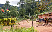 The security gate to the Ghana Bauxite Company's mine in Awaso.