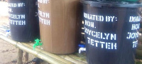 Some the of the buckets donated by the Member of Parliament