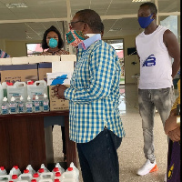 The group donated hand sanitizers and other items to the centre