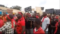 The SRC led the students on a demonstration against alleged student maltreatment on campus