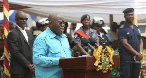 President Nana Addo Dankwa Akufo-Addo delivers speech at Okuapeman School.