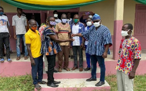Officials at the commissioning of an ultra-modern 3-unit classroom block in Adjalaja