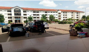 Some University of Ghana students leaving campus