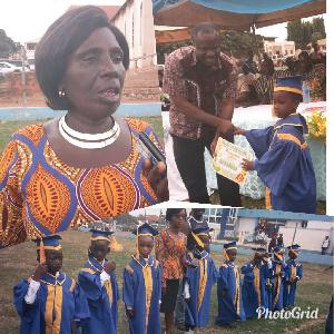 Mrs. Kwarteng, the Headmistress with graduating pupils