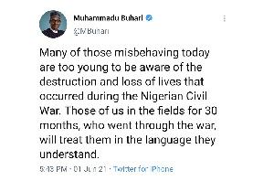 Buhari Delete Twitter Civil War
