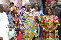 President Mahama in  kente cloth presented to him by the chiefs