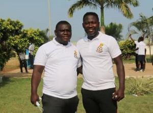 Nana Kofi Brobbey with former Kotoko striker Eric Bekoe