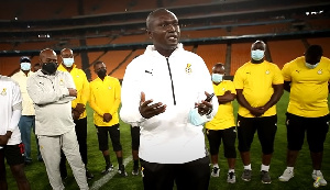 Ghana's High Commissioner to South Africa with the Black Stars