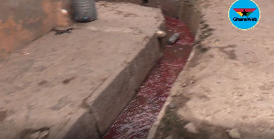 Gutters filled with blood from cows slaughtered in various households in the Zongo commujnities