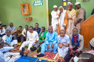 Veep Bawumia in a shot with the pastors in the mosque