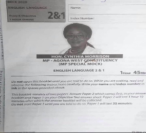 Gender Minister, Cynthia Mamle Morrison on the examination paper