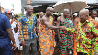 President Akufo-Addo exchanging pleasantries with some chiefs at Goaso