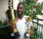 SRC President, Joseph Agbezuke with the trophies