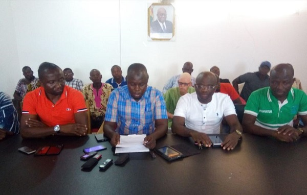 The New Patriotic Party team addressing  the media