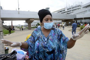 A woman in nose mask