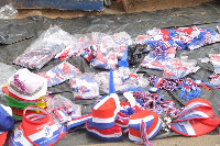 Different kinds of NPP paraphernalia were on sale from the early hours of yesterday