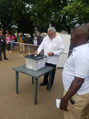 Former President Jerry John Rawlings casting his vote