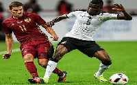 Thomas Partey (No.5) in action for Ghana