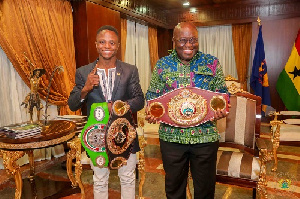 Isaac Dogboe with President of Ghana, Akufo-Addo