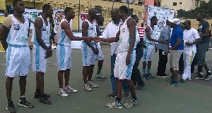 Some dignitaries exchanging pleasantries with the Tema Sharks team ahead of the opening game