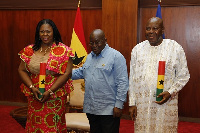 President Akufo-Addo and Ms Evelyn Ama Kumi Richardson (left) and Mr Kwasi Owusu Yeboah (right)