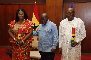 President Akufo-Addo and Evelyn Kumi-Richardson during the swearing-in at the Jubilee House
