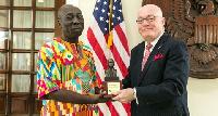 Ambassador Jackson presented the plaque to Mr. Yaw Ofori Debrah