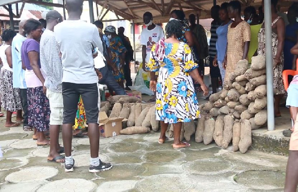 The items included tubers of yam, mackerel and soap