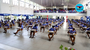 Some students of Presec-Legon writing their first WASSCE paper