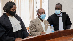 Paul Rusesabagina in a Kigali court with his lawyers on September 14, 2020. PHOTO | CYRIL NDEGEYA |