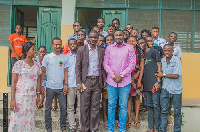 John Dumelo with some students of  Heritage Christian College (HCC)